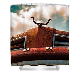 Shower Curtain featuring the photograph Ford Hood Ornament by Bartz Johnson
