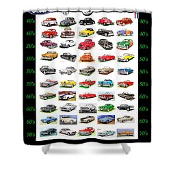 Four Decades Of Fords Poster Shower Curtain