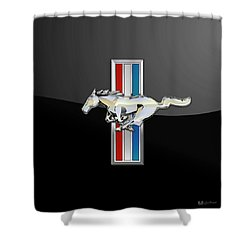 Ford Mustang - Tri Bar And Pony 3 D Badge On Black Shower Curtain