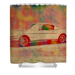 Ford Mustang Watercolor Portrait On Worn Distressed Canvas Shower Curtain by Design Turnpike