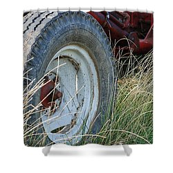 Shower Curtain featuring the photograph Ford Tractor Tire by Jennifer Ancker