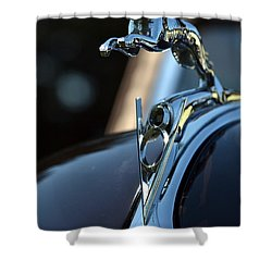 Shower Curtain featuring the photograph Ford V-8 Hood Ornemant by Dean Ferreira