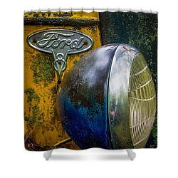Ford V8 Emblem Shower Curtain by Paul Freidlund
