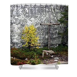 Shower Curtain featuring the photograph Forest Altar by Leena Pekkalainen