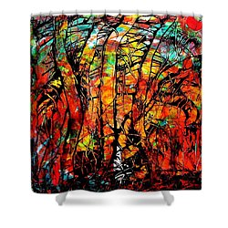 Shower Curtain featuring the painting Forest by Carolyn Repka