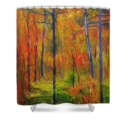 Shower Curtain featuring the painting Forest In The Fall by Bruce Nutting