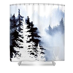 Forest Indigo Shower Curtain