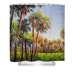 Forest Of Palms Shower Curtain by Lou Ann Bagnall