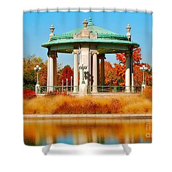 Shower Curtain featuring the photograph Forest Park Gazebo by Peggy Franz