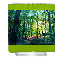 Shower Curtain featuring the painting Forest Scene 1 by Kathy Braud
