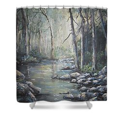 Shower Curtain featuring the painting Forest Stream by Megan Walsh