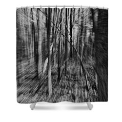 Forest Time B.w Shower Curtain