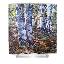 Shower Curtain featuring the painting Forest Walk by Megan Walsh