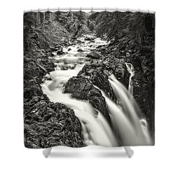 Forest Water Flow Shower Curtain by Ken Stanback