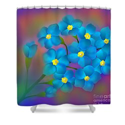 Forget- Me -not Flowers Shower Curtain by Latha Gokuldas Panicker