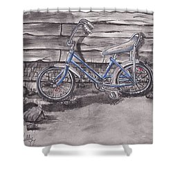 Shower Curtain featuring the painting Forgotten Banana Seat Bike by Kelly Mills
