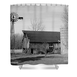 Forgotten Farm In Black And White Shower Curtain by Judy Whitton