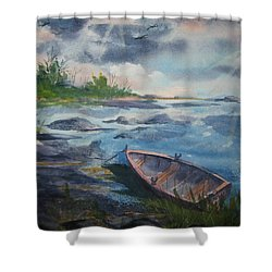 Shower Curtain featuring the painting Forgotten Rowboat by Ellen Levinson
