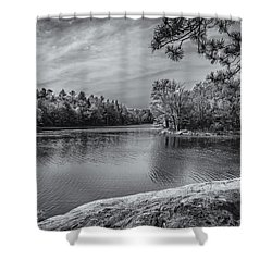 Fork In River Bw Shower Curtain