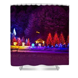 Forrest In Christmas Lights Shower Curtain