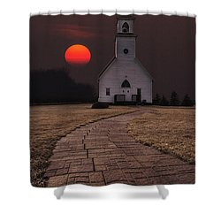 Fort Belmont Sunset Shower Curtain