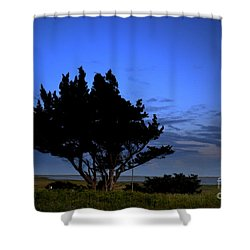 Fort Fisher Moonrise  Shower Curtain