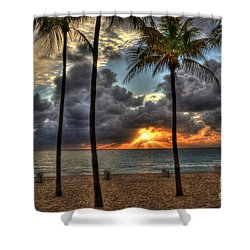 Fort Lauderdale Beach Florida - Sunrise Shower Curtain by Timothy Lowry