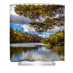 Fort Mountain State Park Lake Trail Shower Curtain by Bernd Laeschke