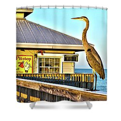 Fort Myers Beach Bird On Pier Shower Curtain by Timothy Lowry