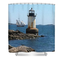 Shower Curtain featuring the photograph Fort Pickering Light by Denyse Duhaime