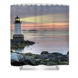 Fort Pickering Lighthouse At Sunrise Shower Curtain by Juli Scalzi