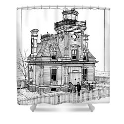 Fort Tompkins Lighthouse Shower Curtain by Ira Shander
