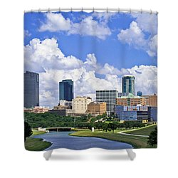 Fort Worth Skyline #2 Shower Curtain by David and Carol Kelly