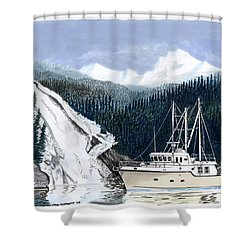 Forty Foot Nordhavn Northern Anchorage Shower Curtain by Jack Pumphrey