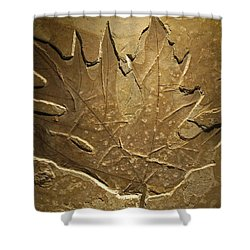 Fossilized Maple Leaf Shower Curtain by Connie Fox