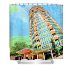 Founder's Tower In Oklahoma City Shower Curtain by Liane Wright