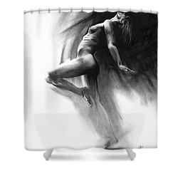 Shower Curtain featuring the drawing Fount by Paul Davenport