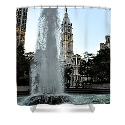 Fountain And Philadelphia City Hall Shower Curtain by Bill Cannon