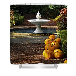Shower Curtain featuring the photograph Fountain And Pumpkins At The Elizabethan Gardens by Greg Reed