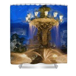 Fountain At Dusk Shower Curtain by Ayse Deniz
