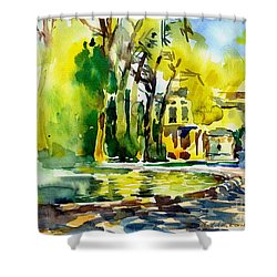 Fountain Spray - Brussels In Spring Shower Curtain by Anna Lobovikov-Katz