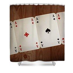 The Four Aces Shower Curtain by Daniel Precht