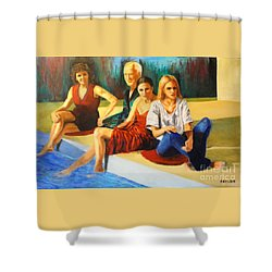 Four At A  Pool Shower Curtain