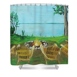 Shower Curtain featuring the painting Four Chairs by Jeanne Fischer