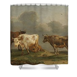 Four Cows In A Meadow Shower Curtain