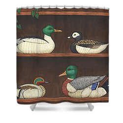 Four Duck Decoys Shower Curtain by Linda Mears
