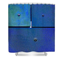 Four Five Six - Colorful Rust - Blue Shower Curtain