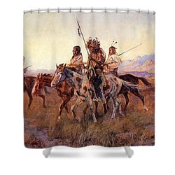 Four Mounted Indians Shower Curtain by Charles Russell