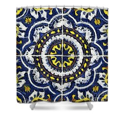 Four Painted Tiles-mexico Shower Curtain by Michael Flood