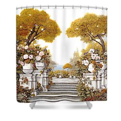 four seasons-autumn on lake Maggiore Shower Curtain by Guido Borelli